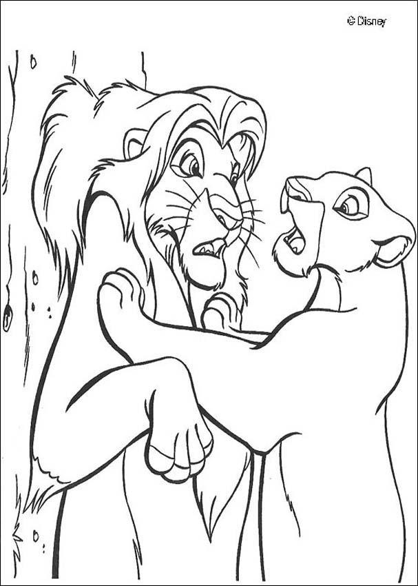 dessin � colorier nala roi lion