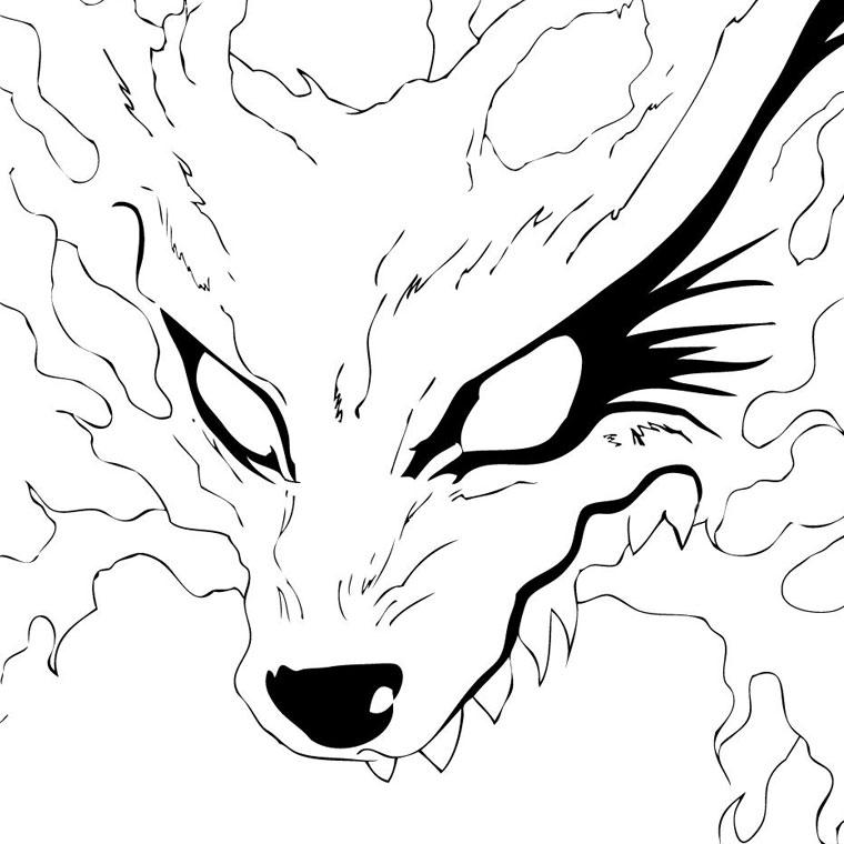 dessin à colorier naruto shippuden kyubi