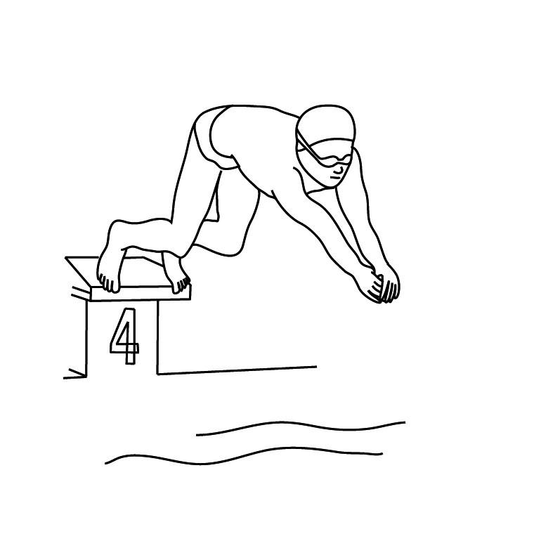 dessin à colorier natation imprimer