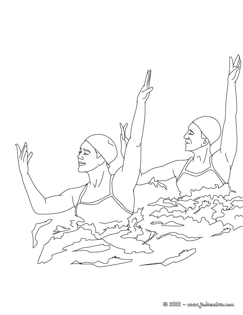dessin à colorier natation gratuit