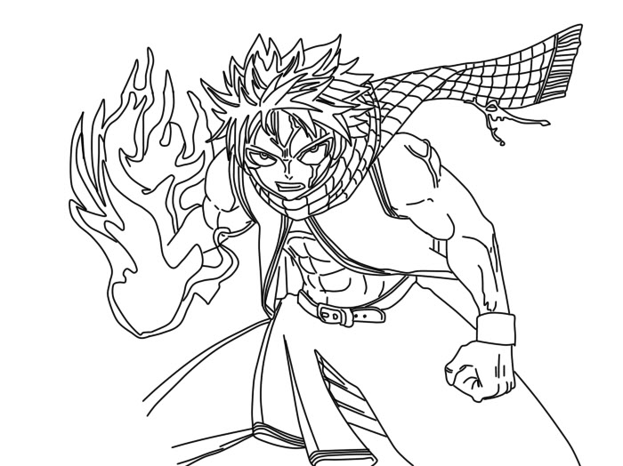 Fairy Tail Natsu Dragneel Coloring Pages Sketch Coloring Page