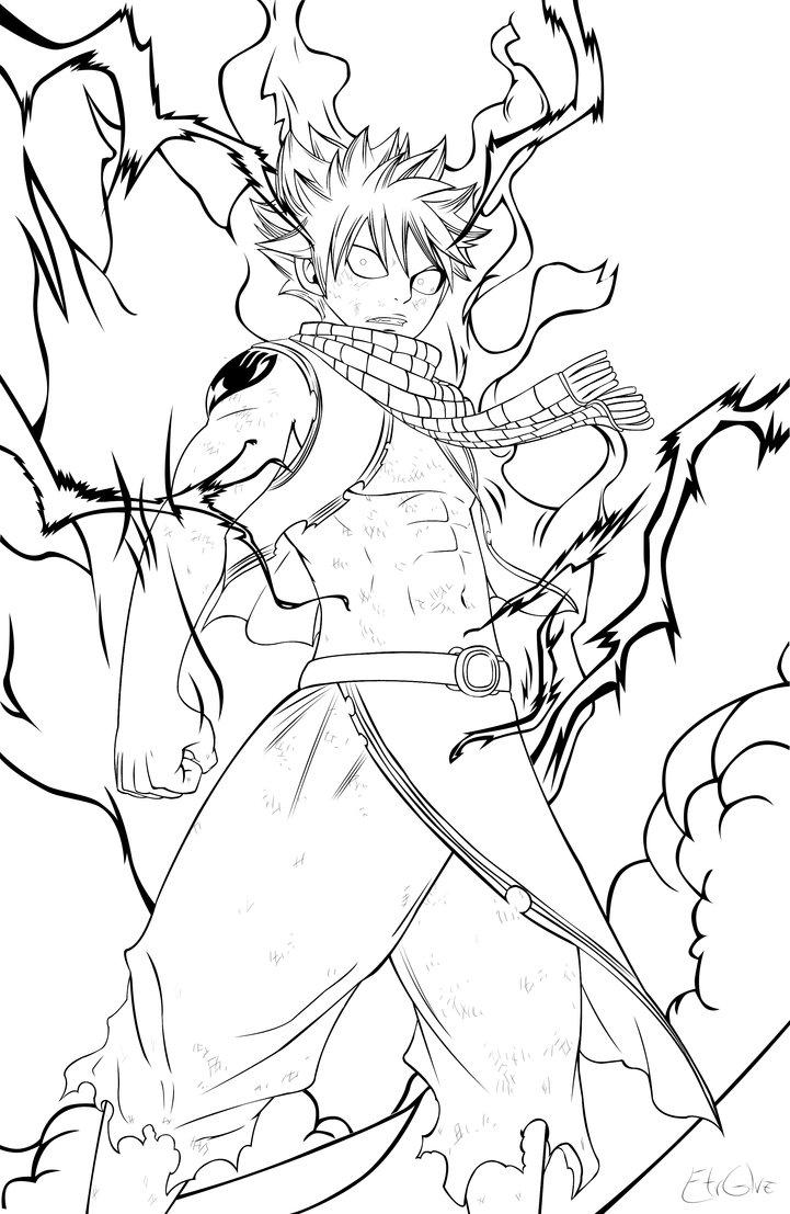 coloriage à dessiner de natsu