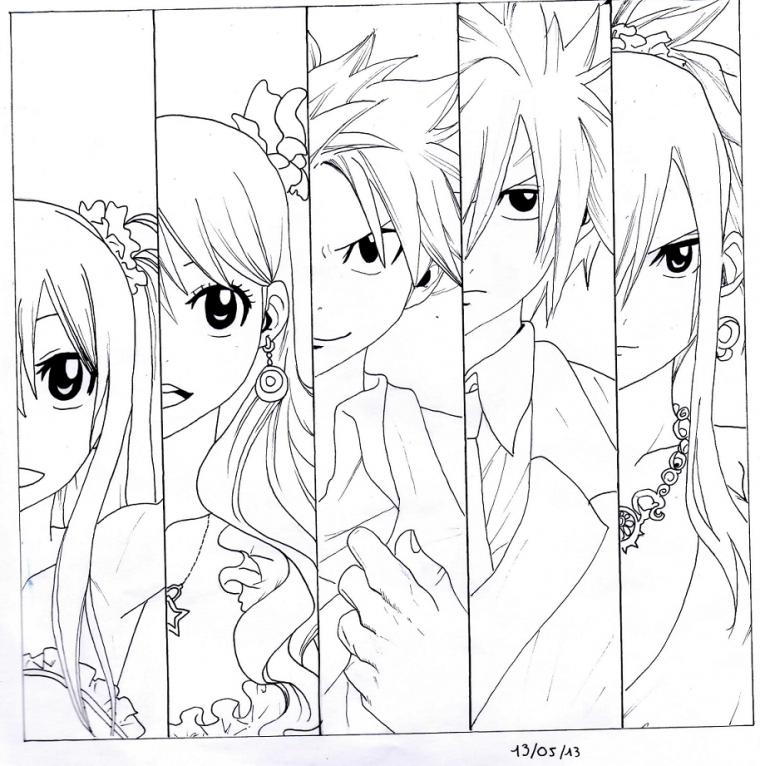 coloriage à dessiner manga natsu