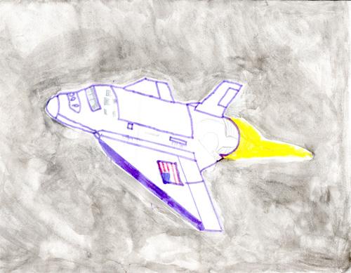 dessin à colorier navette spatiale à imprimer