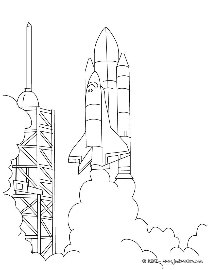 coloriage à dessiner en ligne navette spatiale