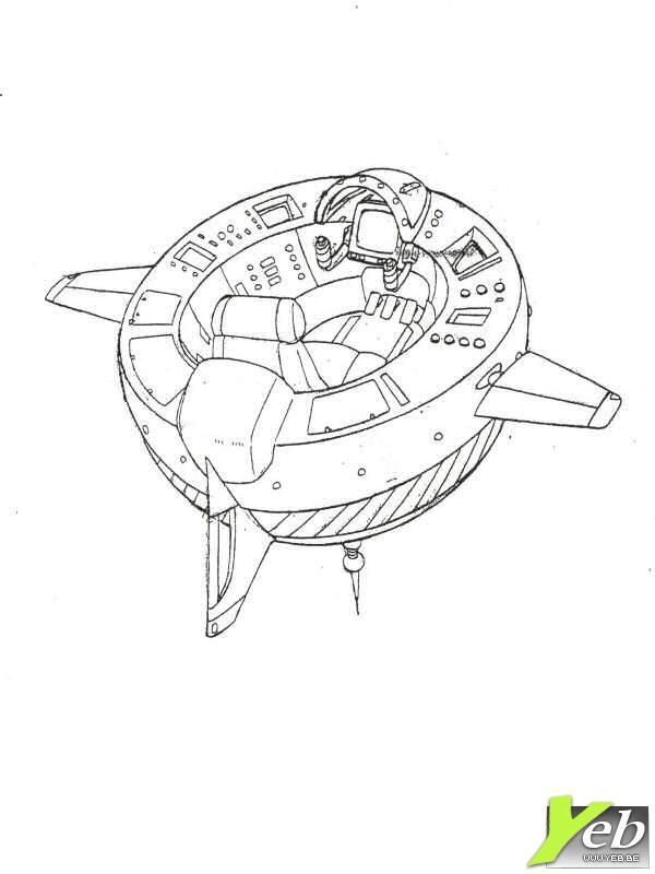 dessin à colorier en ligne navette spatiale