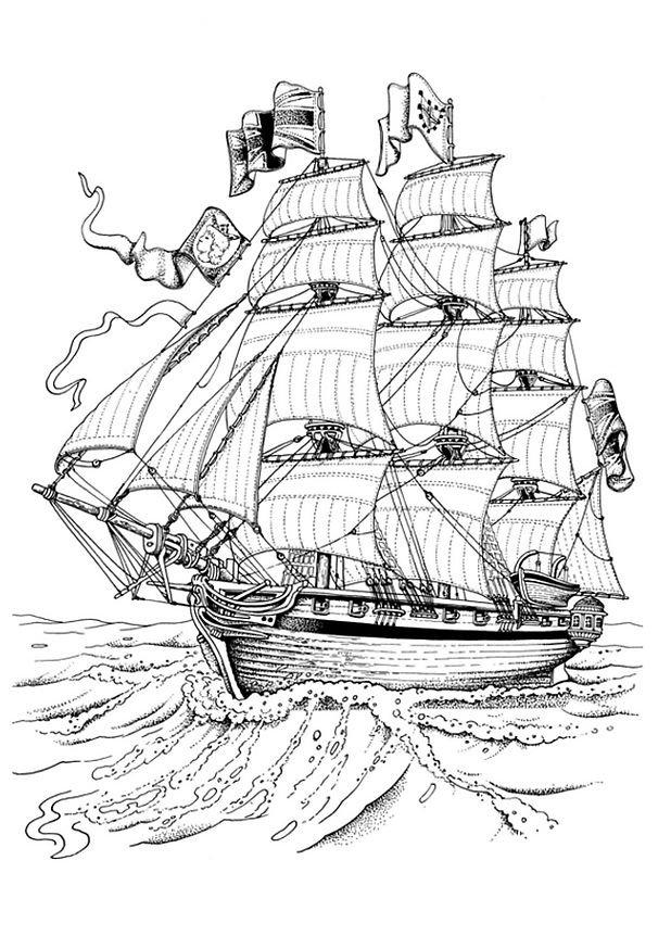 coloriage bateau trois mats