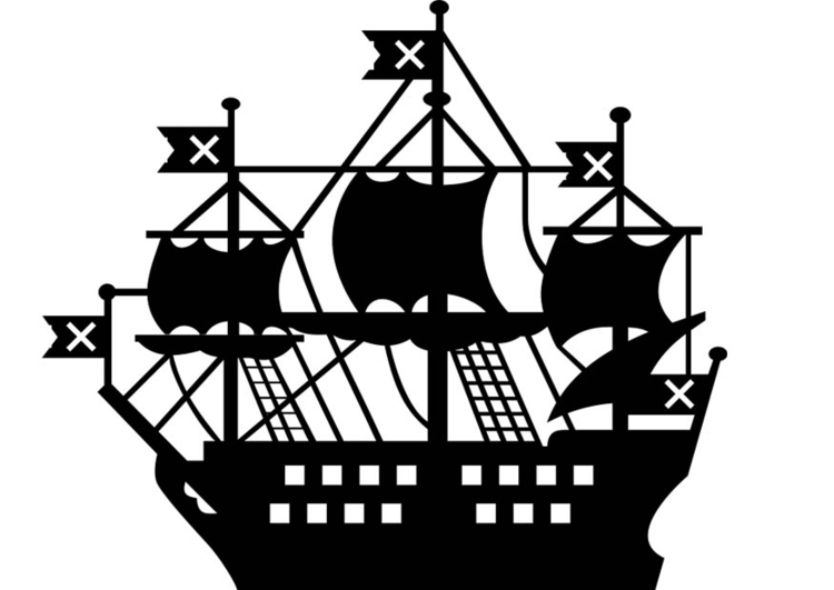 coloriage voile bateau pirate