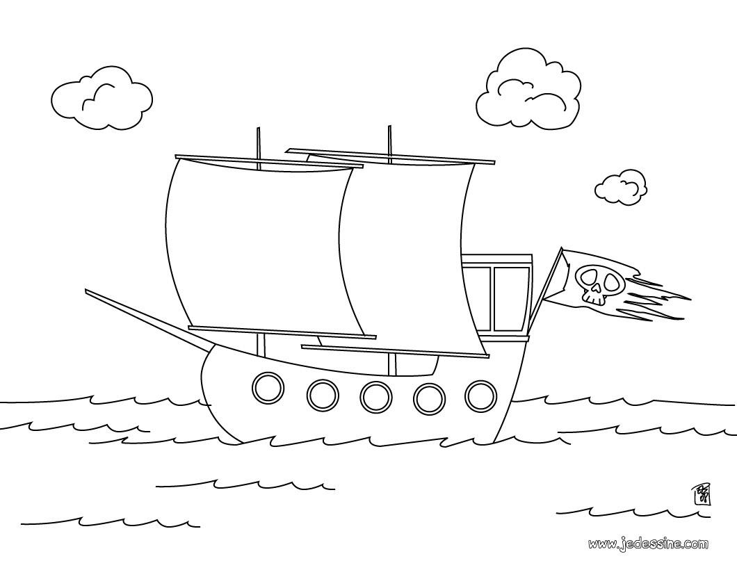 coloriage magique bateau pirate