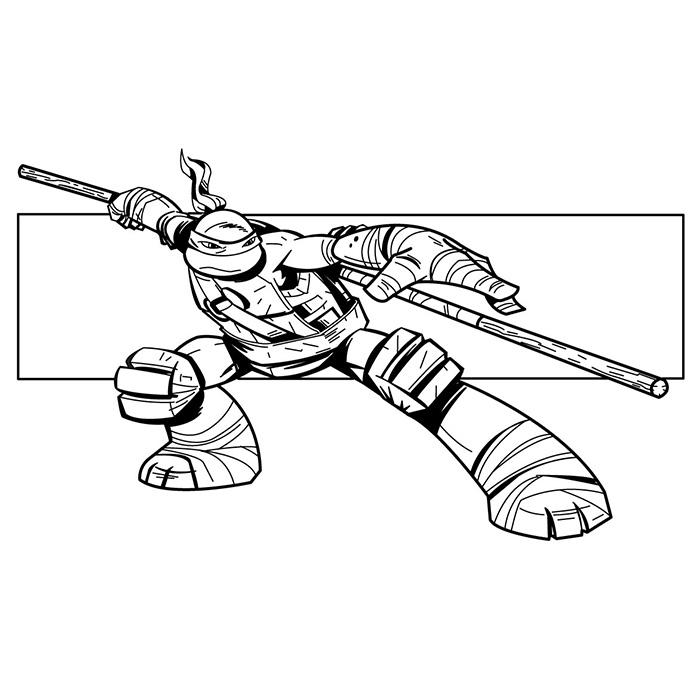 dessin à colorier tortue ninja anniversaire
