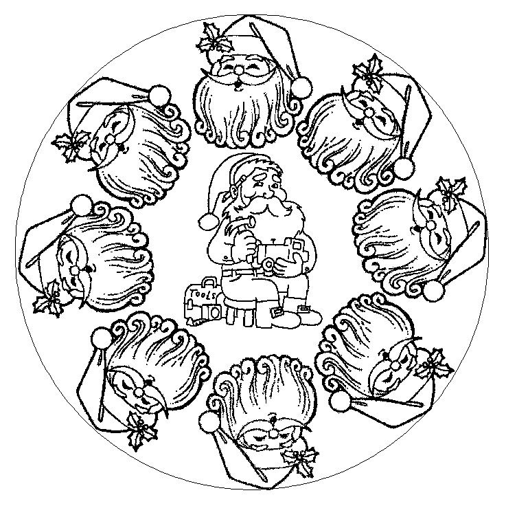 97 dessins de coloriage no l cycle 3 imprimer - Mandalas cycle 3 ...