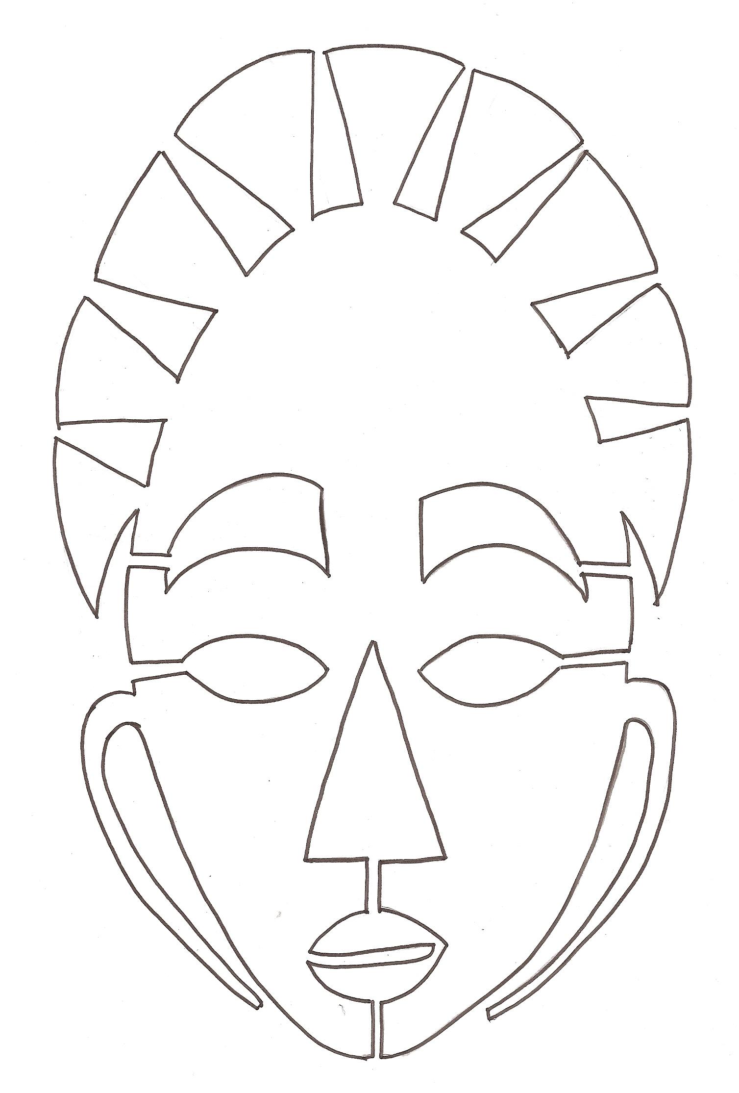 97 dessins de coloriage no l cycle 3 imprimer - Dessin de masque africain ...
