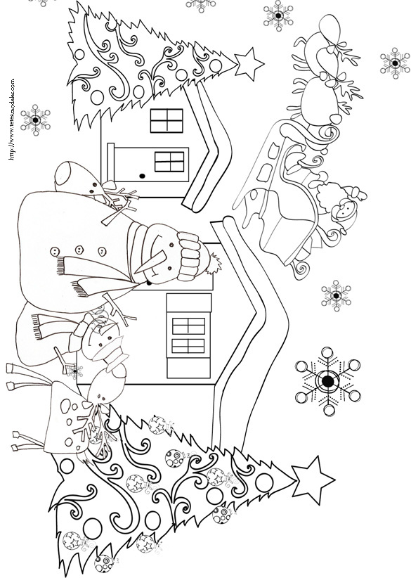 97 dessins de coloriage no l cycle 3 imprimer - Coloriage village de noel ...