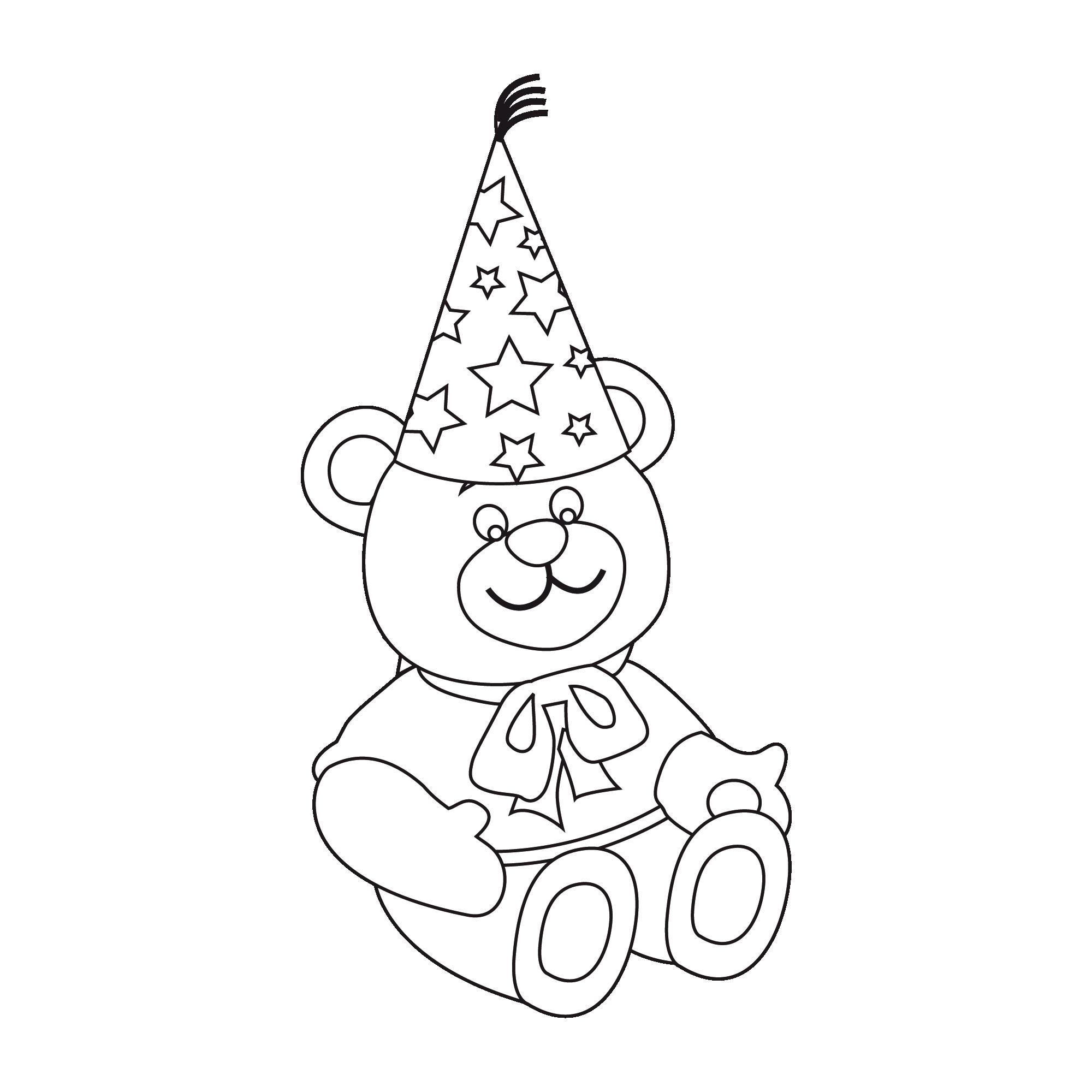 coloriage à dessiner nounours anniversaire