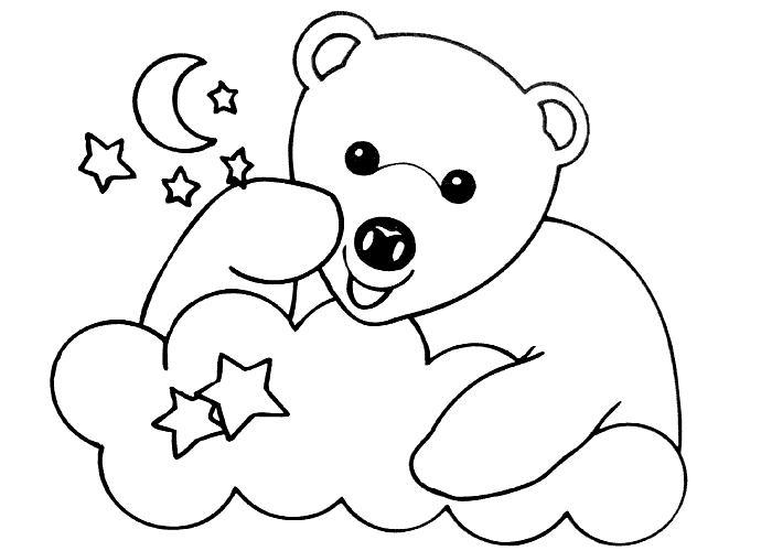 dessin à colorier ours mignon