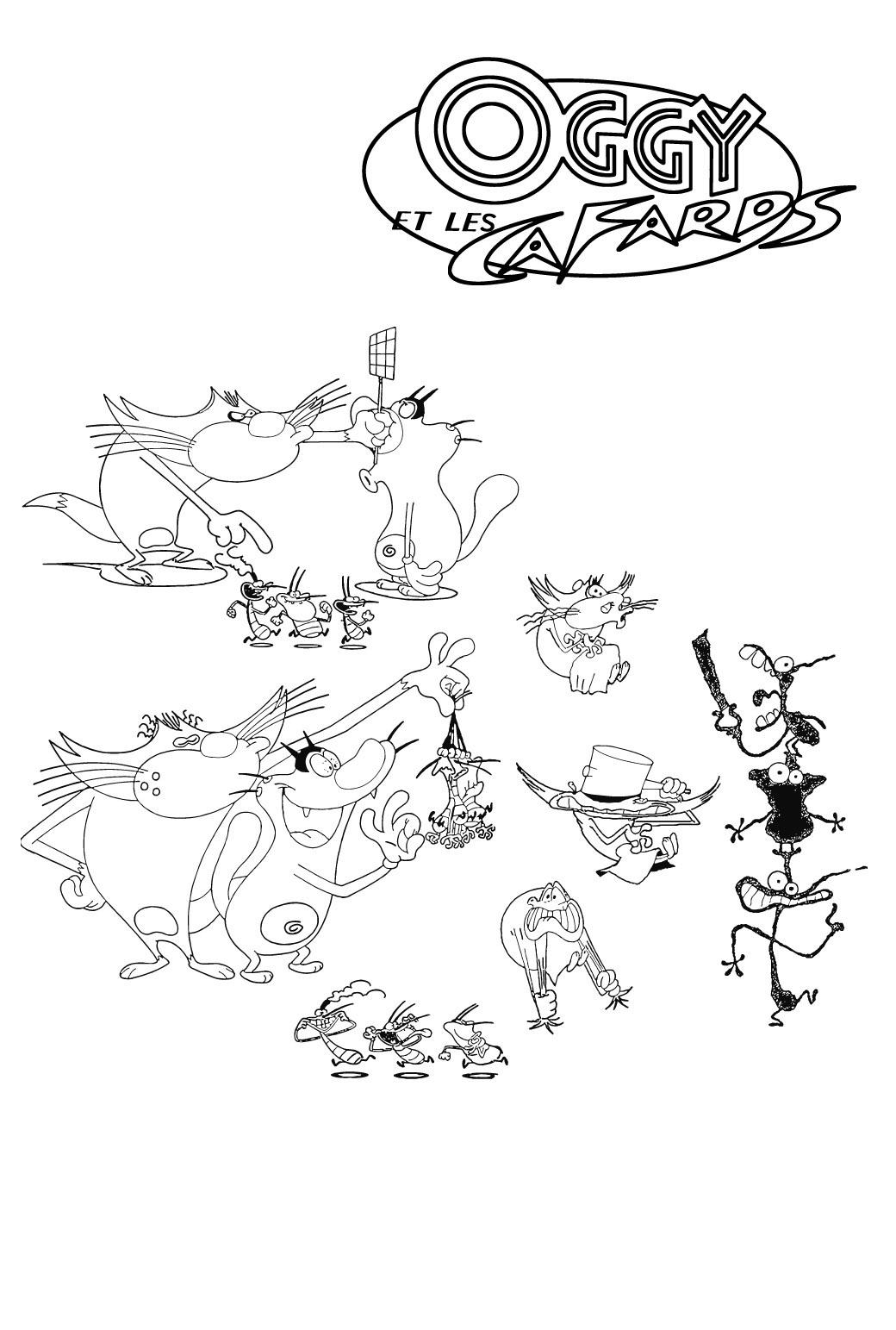 coloriage � dessiner oggy et les cafards a imprimer