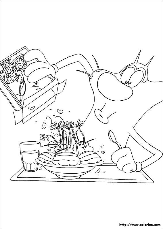 dessin à colorier à imprimer oggy et les cafards