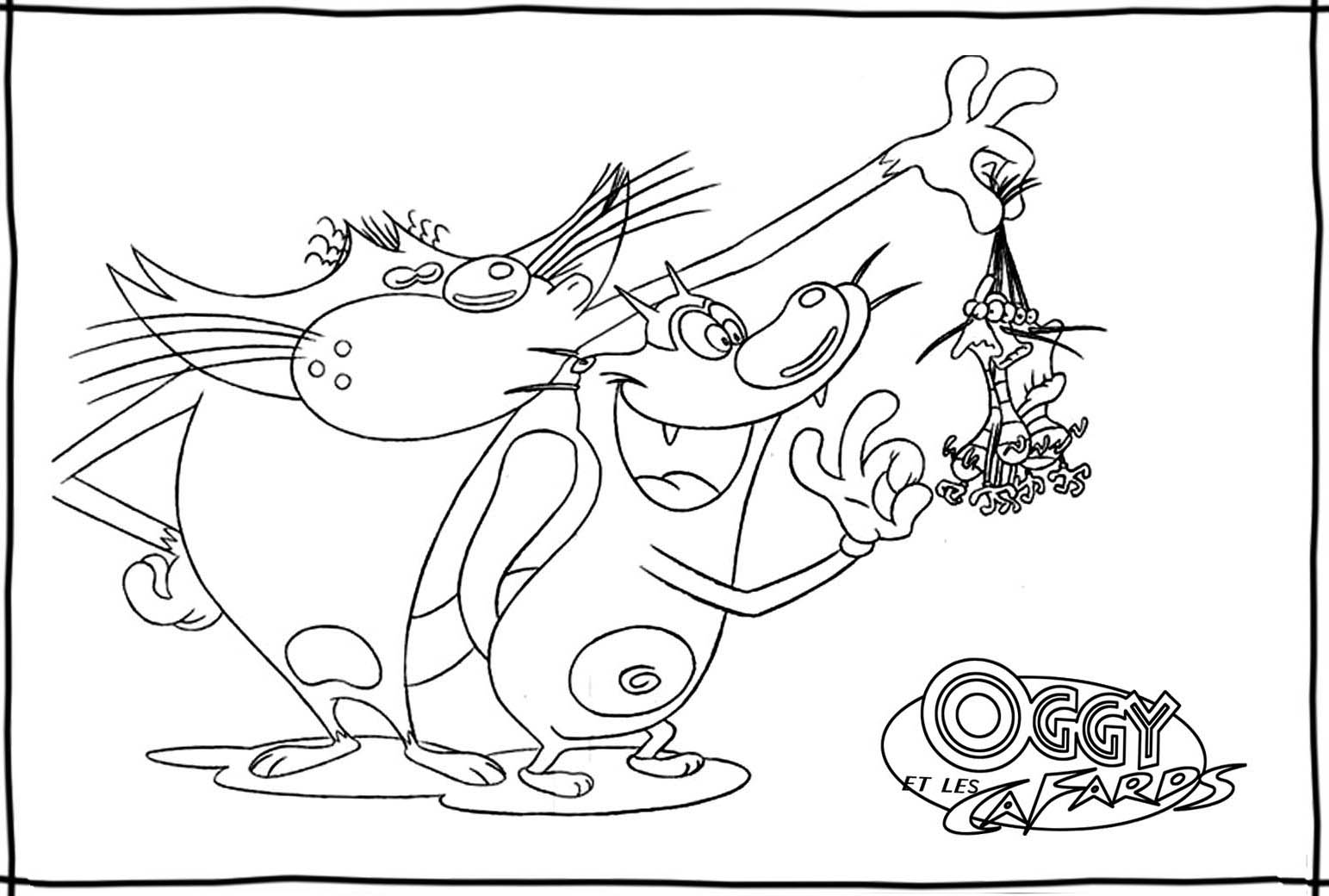 coloriage à dessiner oggy et les cafards gratuit
