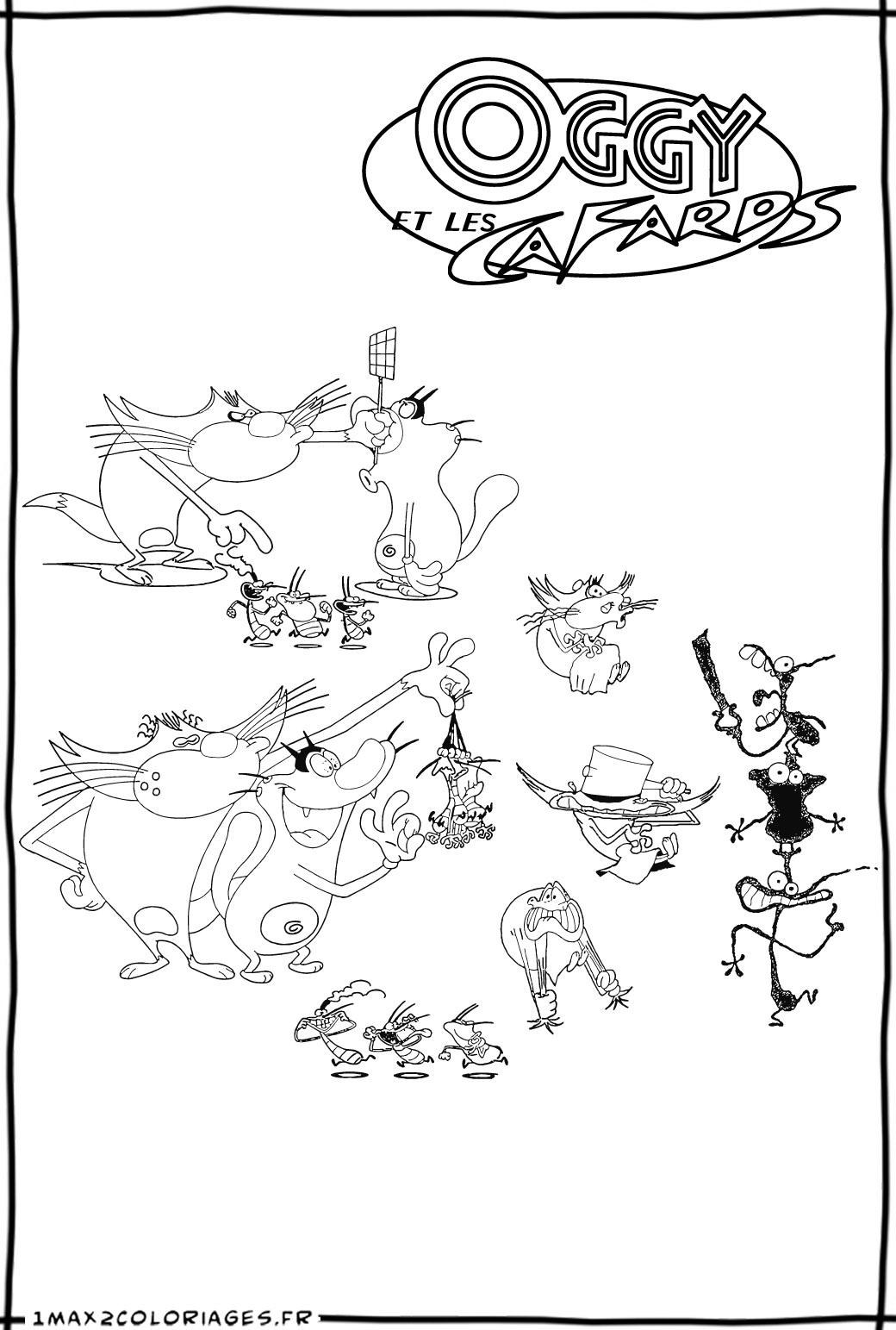 dessin à colorier gratuit oggy et les cafards