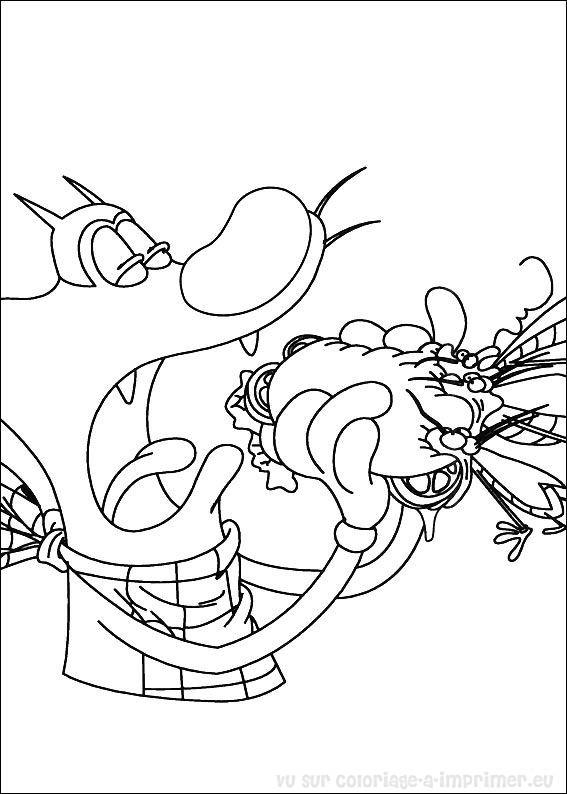 dessin � imprimer oggy et les cafards