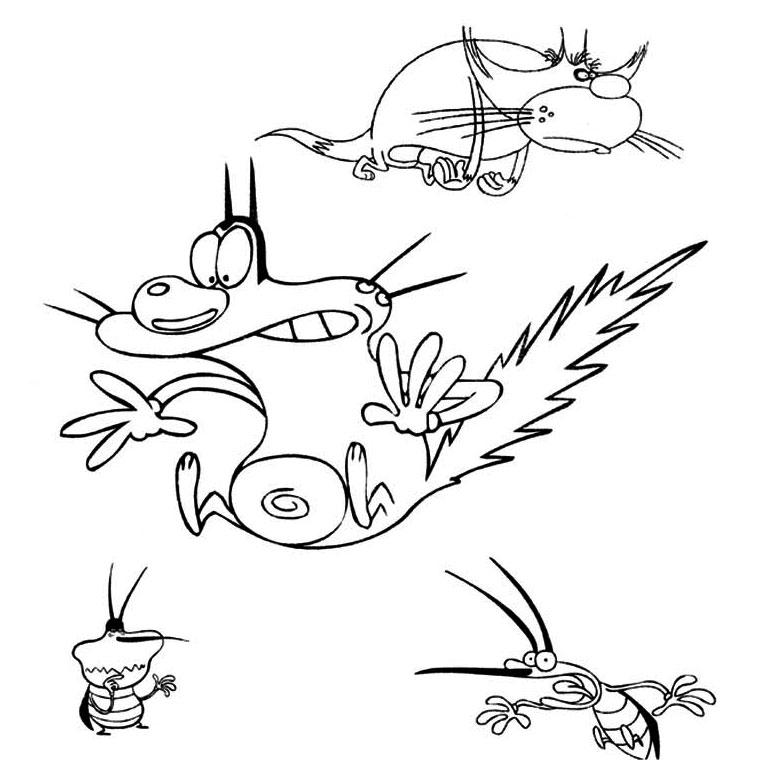 imprimer dessin à colorier oggy et les cafards