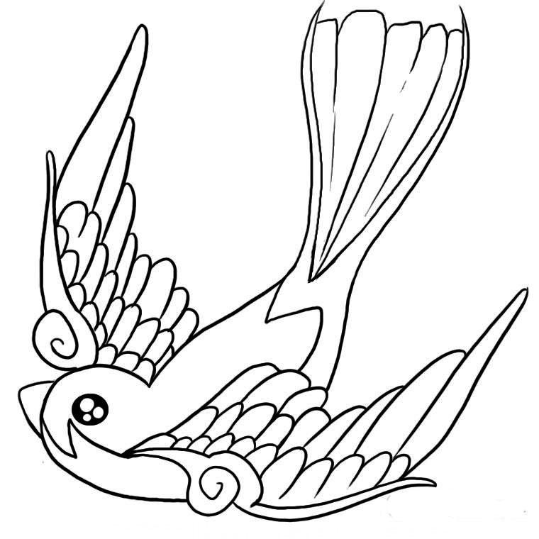 coloriage à dessiner oiseau dans son nid