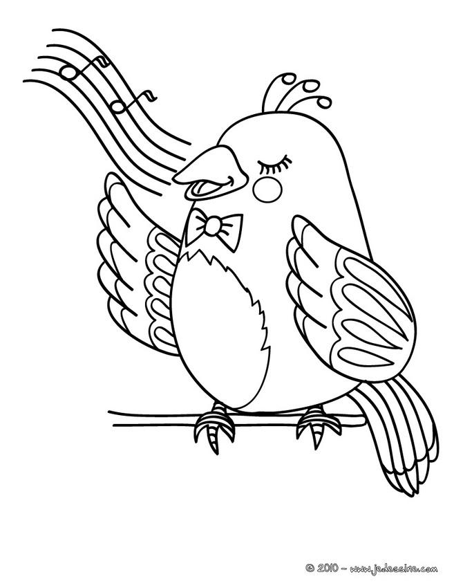 coloriage à dessiner oiseau qui chante