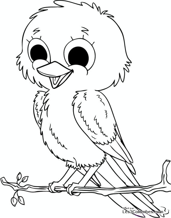 dessin à colorier oiseau exotique