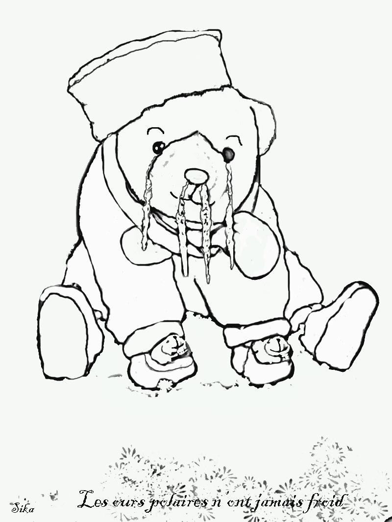 coloriage à dessiner plume l'ours polaire