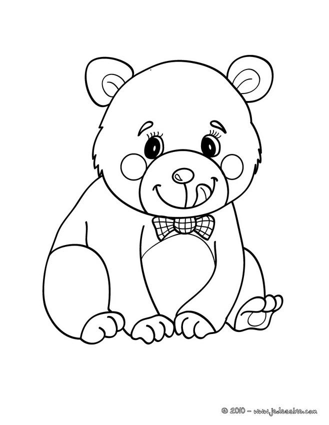 coloriage petit ours brun à l'école