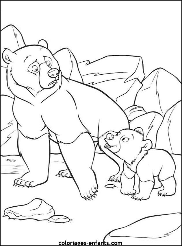 dessin à colorier ours coeur