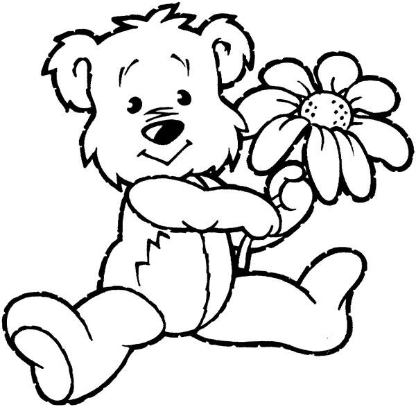 dessin à colorier ourson coeur