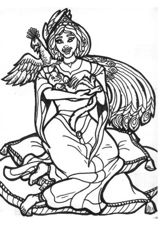 dessin à colorier magique paon