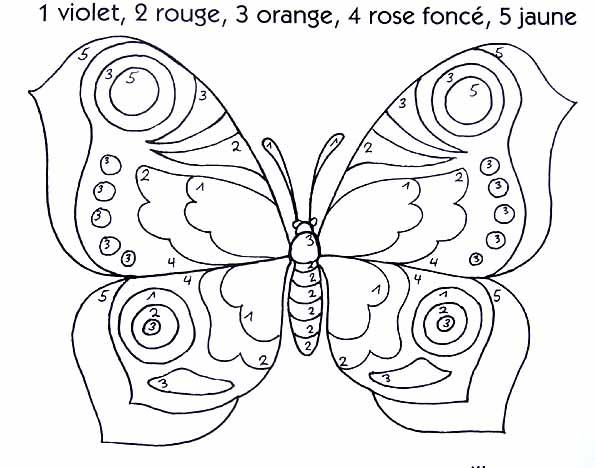 Dessin poisson papillon - Coloriage a code ...