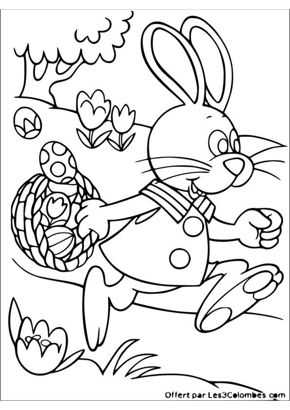 dessin de paques lapin a imprimer