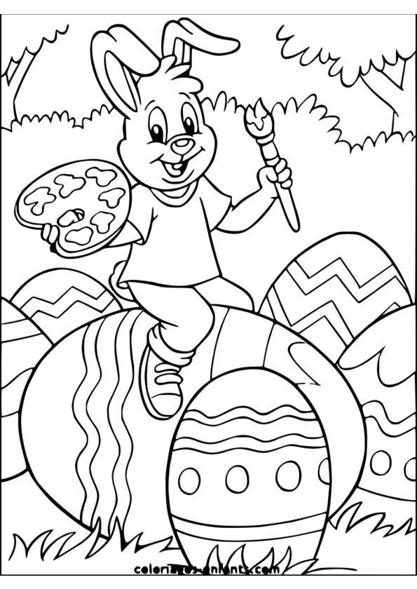 coloriage à dessiner theme paques
