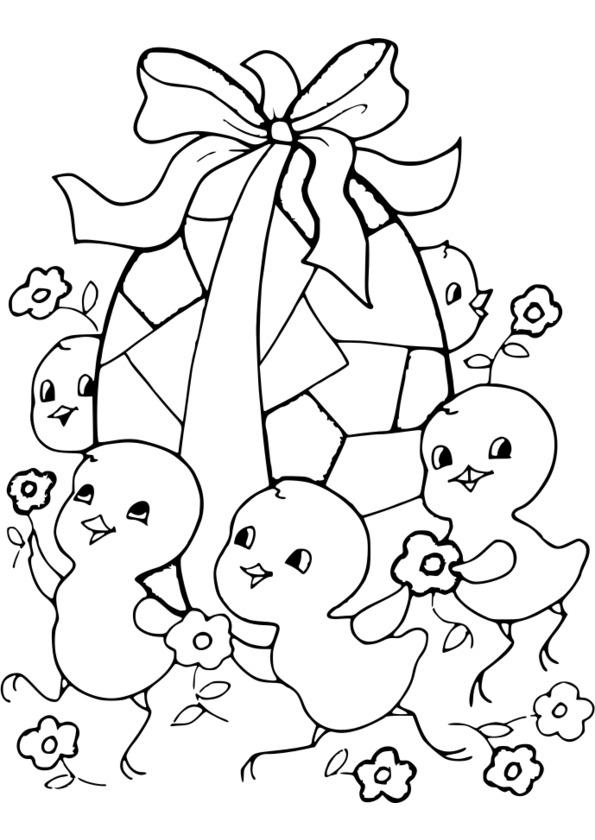 dessin à colorier paques mickey