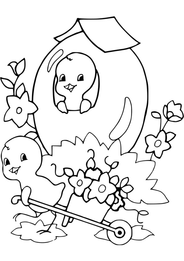 dessin � colorier paques cycle 3
