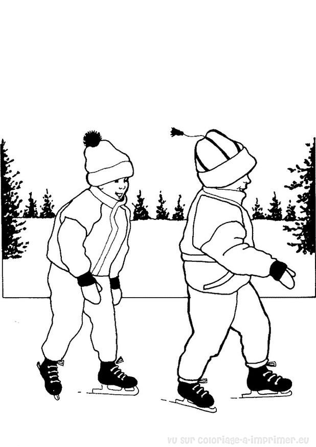 coloriage de patinage a imprimer