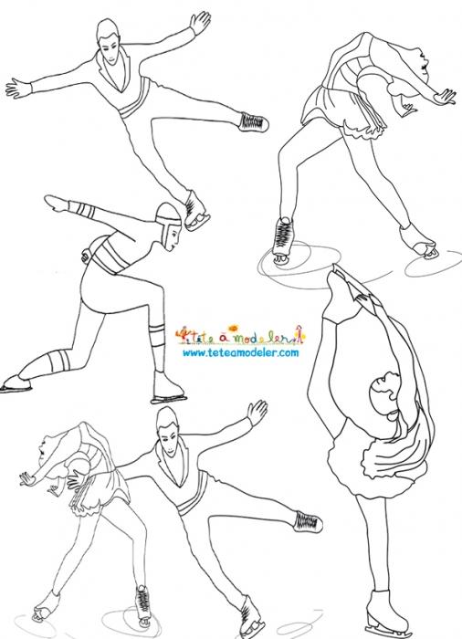 dessin à colorier patinage