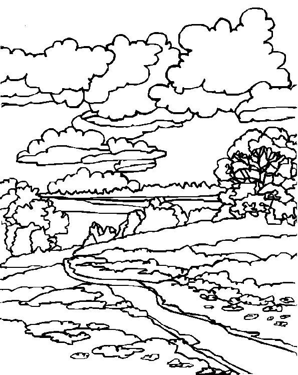 dessin paysage hiver imprimer