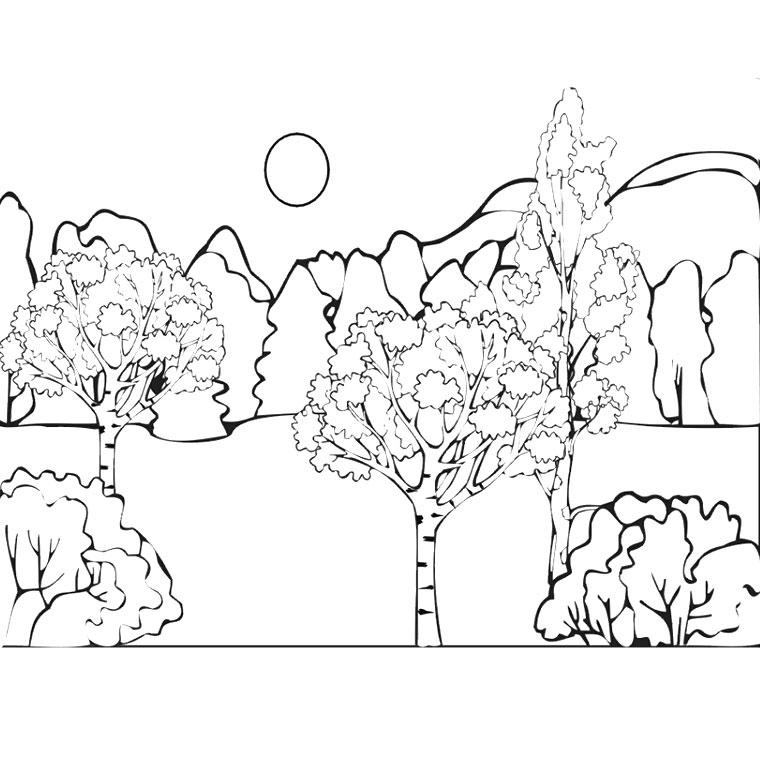 coloriage à dessiner paysage sous la pluie