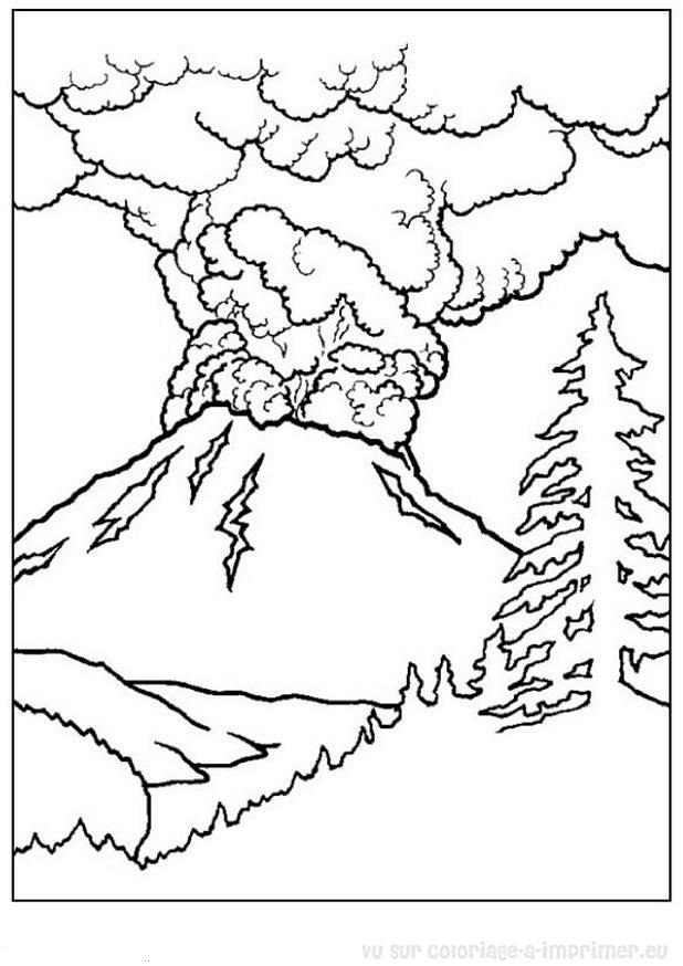 dessin colorier paysage montagne hiver