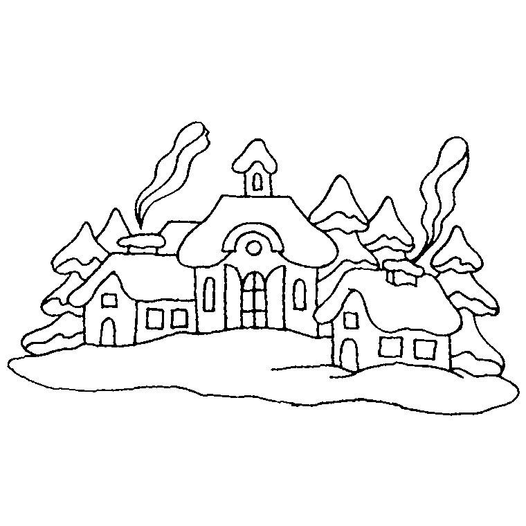Dessin colorier paysage montagne hiver - Dessin a colorier paysage ...