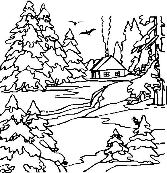 dessin colorier paysage de neige