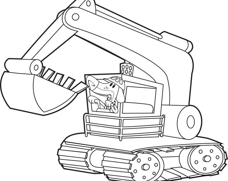 dessin à colorier pelle mécanique