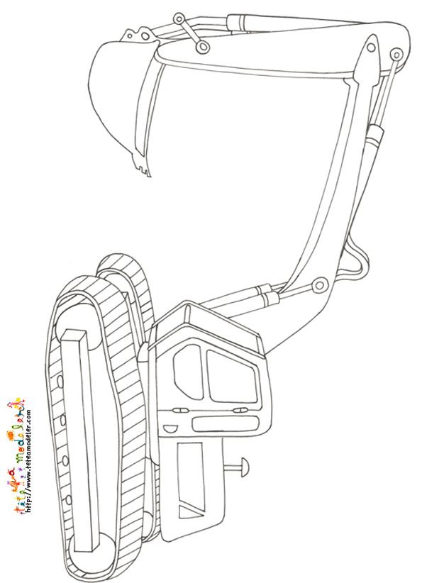dessin à colorier de pelle mécanique a imprimer