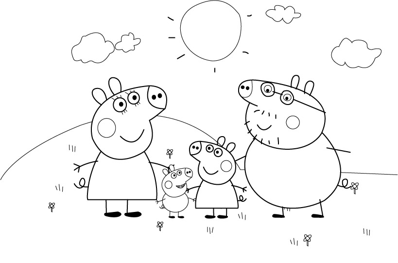 10 Dessins De Coloriage Peppa Pig Noel A Imprimer