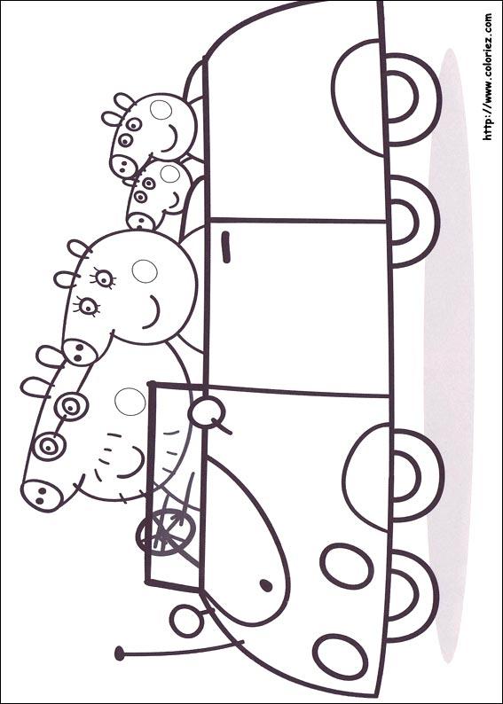 12 dessins de coloriage peppa pig voiture imprimer. Black Bedroom Furniture Sets. Home Design Ideas