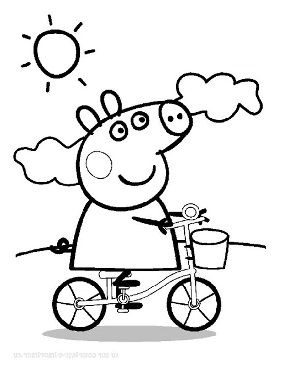 Coloriage pour enfants peppa pig en v lo coloring pages for kids peppa pig by bike learn colors - Dessin peppa pig ...